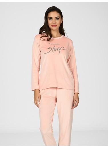 Nbb Sleep Kadife Kadın Pijama Takımı 67090  Somon